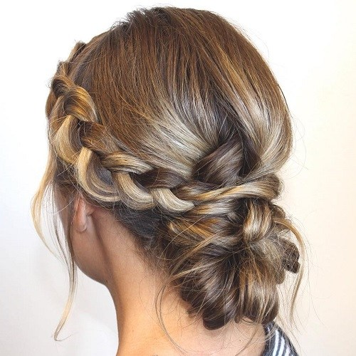 Low Loose Bun Hairstyles For Weddings: Side-braid-and-low-bun